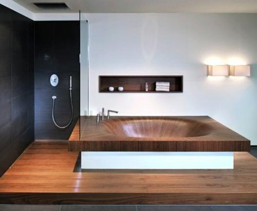 Moderne Badewanne aus Holz originell design duschkabine schwarz wand
