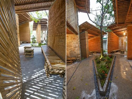 Nachhaltige Gartenhäuser aus Bambus und Stein bepflanzung
