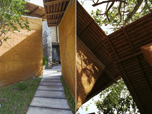 Nachhaltige Gartenhäuser aus Bambus und Stein dach