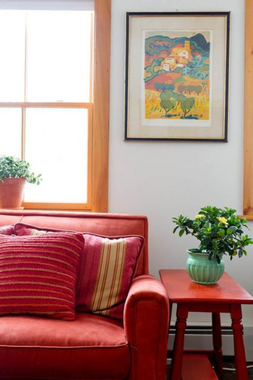 Sparsame Dekoration zu Hause bilder wand pflanzen sofa