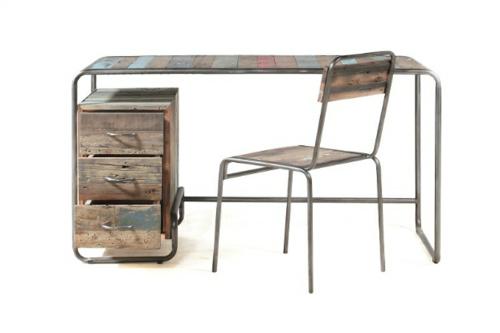Vintage Schreibtische in Ihrem Homeoffice  Büro rustikal holz metall gestell