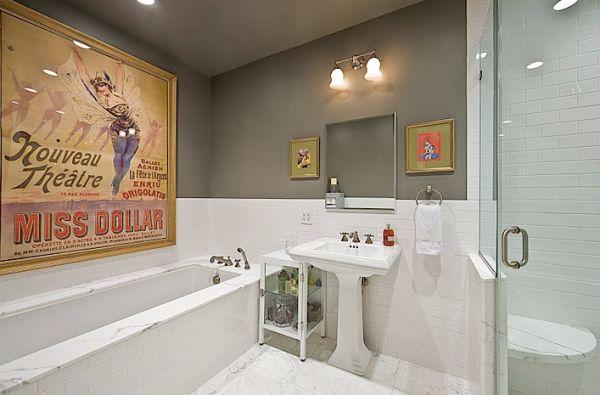 Wanddekoration Mit Plakaten : Eine Vintage Atmosphäre Im Trendy Haus Badezimmer Wanddekoration