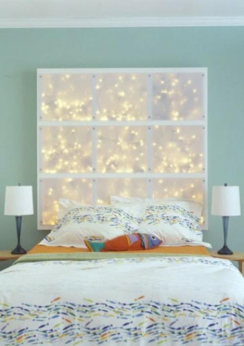 festliche lichter  im Schlafzimmer  tischlampen bettwäsche