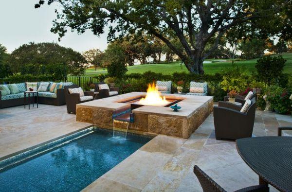 Outdoor Inspiration: Hinreißende Wohnideen Für Feuerstellen Am Pool Design Ideen Feuerstelle Draussen