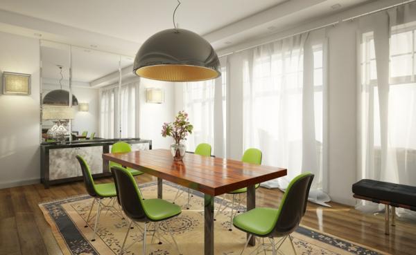 auffallendes esszimmer design grün gepolstert stühle modern
