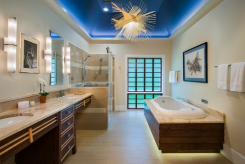 badezimmer beleuchtung einrichtung asian stil blau decke
