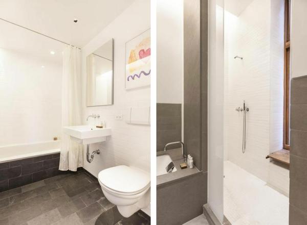 badezimmer schwarz weiß fliesen kompakt traditionell wohnung new york