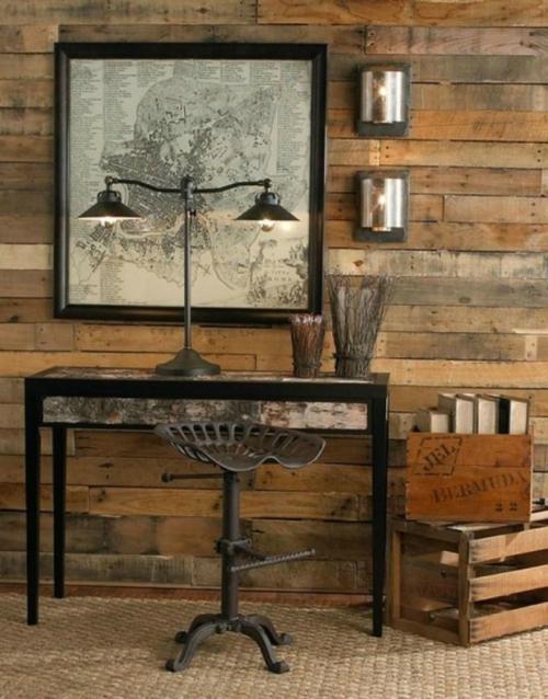 coole Grunge Interior Designs raue gestaltung schreibtisch barstuhl tischlampe
