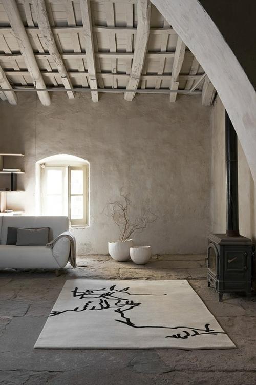 coole Grunge Interior Designs teppich weiß beton boden dachgeschoss