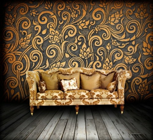 coole Grunge Interior Designs wandgestaltung muster tapeten sofa