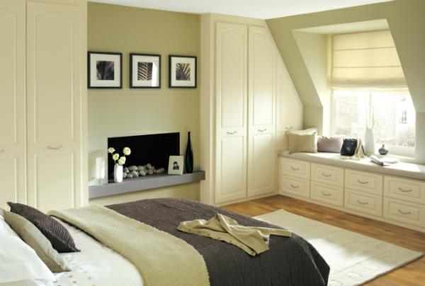 Coole Ideen Fürs Schlafzimmer Design Warm Braun Nuancen Sitzecke Fenster