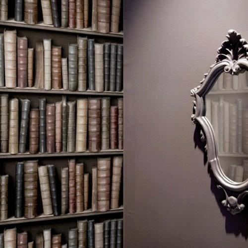 coole Tapetenmuster die Bücherregale nachmachen hausbibliothek klassisch