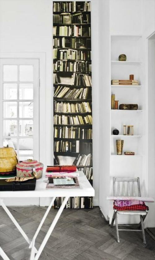 coole Tapetenmuster die Bücherregale nachmachen weiß einrichtung regale