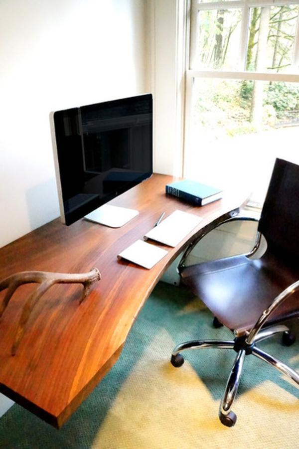 das eigene büro zu hause modern mit schreibtisch aus robustem holz