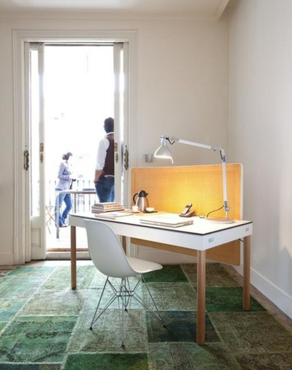 das eigene büro zu hause teppich mit fliesenoptik