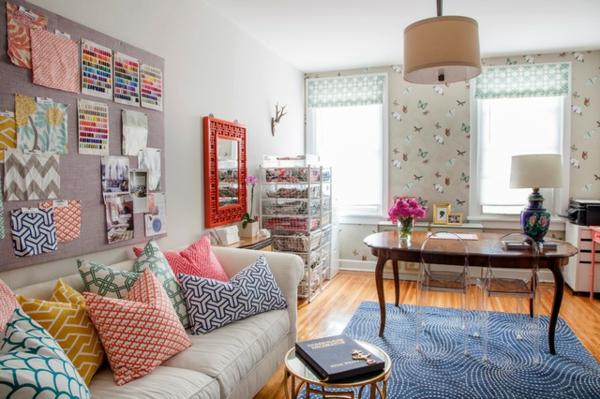 das eigene büro zu hause vielfalt an  farben und mustern