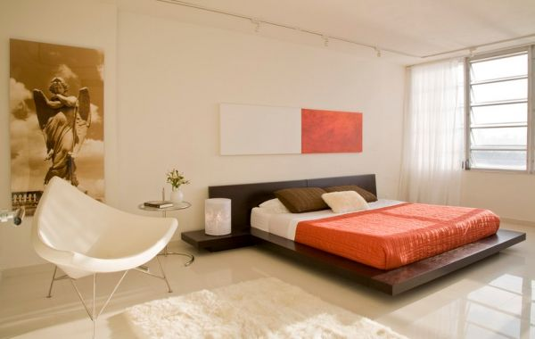 designer coconut stuhl aus plastik in weiß orange akzente