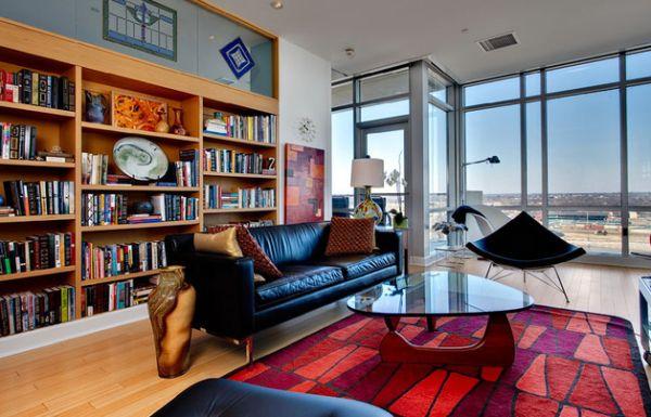designer coconut stuhl panoramafenster dreieckiger ovaler couchtisch