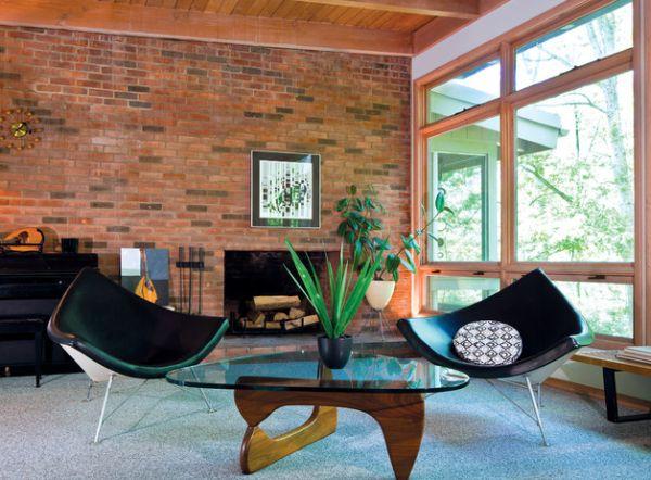 designer coconut stuhl ziegelwand rundes gemustertes kissen