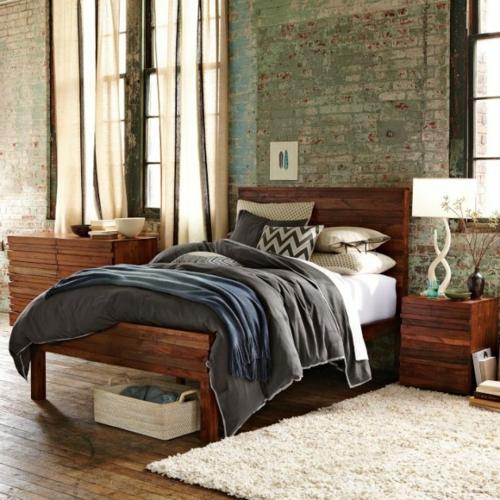 dunkles holz möbel schlafzimmer ziegelwand weich teppich tischlampe