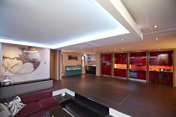 ein Yo!Home Apartment wohnbereich sofa eingebaut möbel