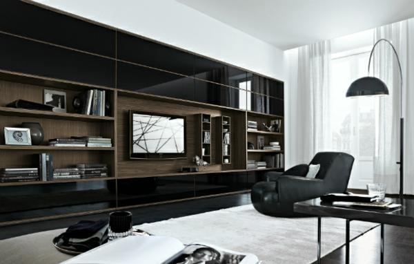 Elegante Wohnwand Ideen Hoch Glanz Schwarz Und Dunkles Holz