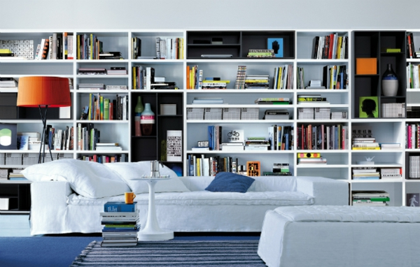 wohnzimmer regal ideen:elegante wohnwand ideen offene regale in weiß