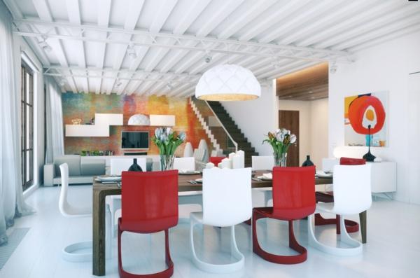 esszimmer esstisch holz massiv rau dsign weiß rot stühle