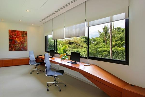 exotische luxus villa elegante arbeitsplätze mit ergonomischen chefsesseln