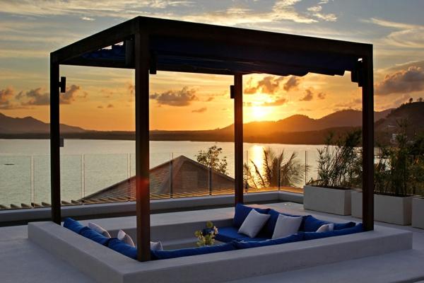 exotische luxus villa gemütlich den sonnenuntergang genießen