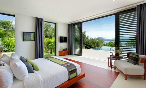 exotische luxus villa hölzerne schiebetüren mit außenlamell n
