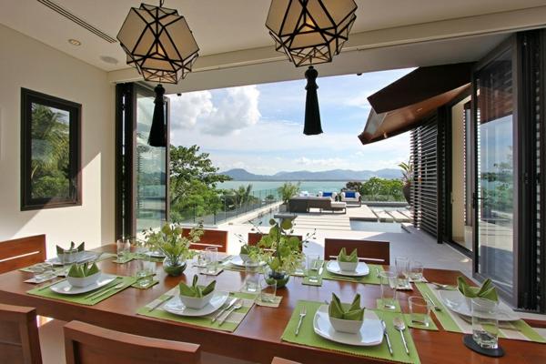 exotische luxus villa minzgrüne servietten und tischset