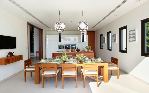 exotische luxus villa wunderschöne tischdekoration