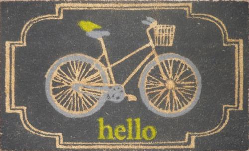 fahrräder als sommerdeko fußmatte in grau mit gelb und ocker