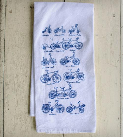 fahrräder als sommerdeko geschirrtuch