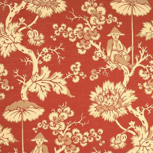 fantastische Foyer Designs mit Tapeten orange rot farbe blumenmuster