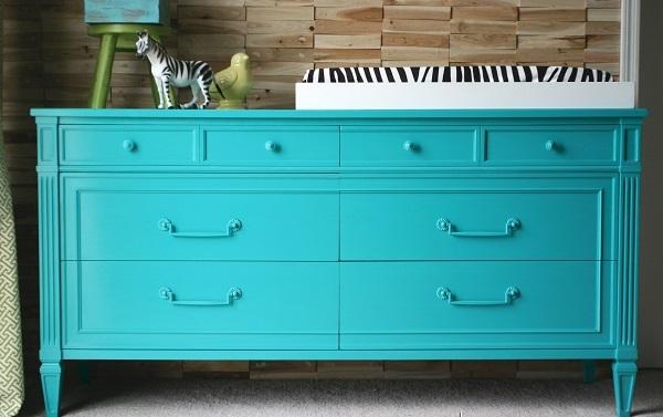 farbenfrohe Kommoden zum Sebermachen blau türkis farbe