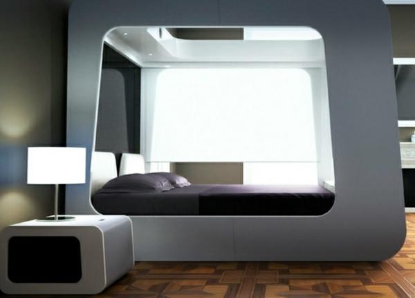 futuristische schlafzimmer auberginenfarbene bettwäsche