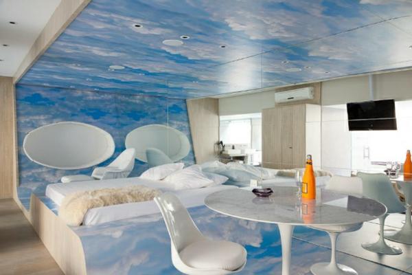 futuristische schlafzimmer designs über den wolken