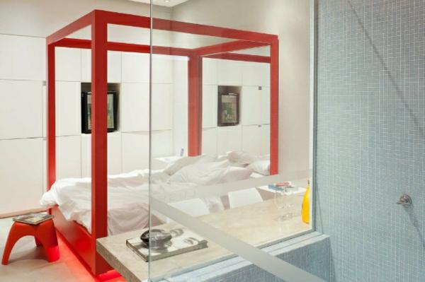 futuristische schlafzimmer designs bettkasten aus feuerrotem holz