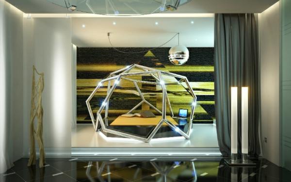 futuristische schlafzimmer designs geometrische konstruktion und pyramide