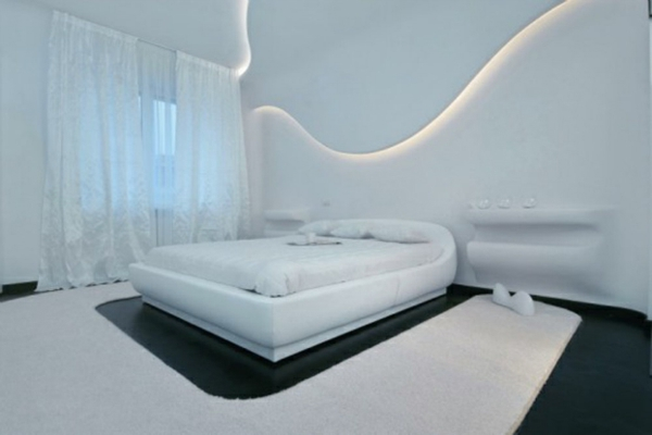 futuristische schlafzimmer designs gewölbt in strahlend weiß