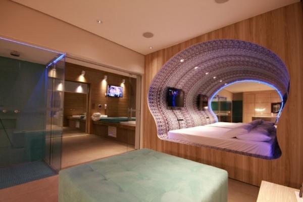 futuristische schlafzimmer designs muschelförmig mit neonlicht