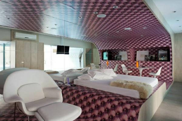 futuristische schlafzimmer designs organisch geschwungen in lavendel