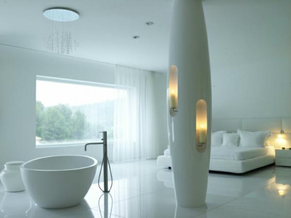 Futuristische Schlafzimmer Freistehende Ovale Wanne Und Eingebaute  Kerzenhalter 26 Futuristische Schlafzimmer Designs ...