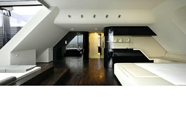 futuristische schlafzimmer schräge wände schwarz weiß und dunkles parkett
