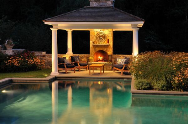 eine feuerstelle am pool | möbelideen, Gartengerate ideen