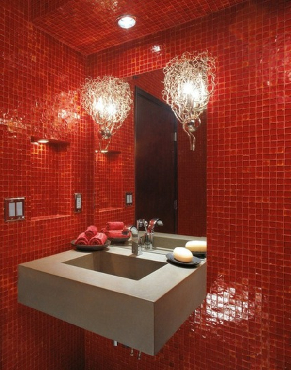 Gestaltung mit farbe wann sollte man rot im badezimmer - Ausgefallene wandleuchten ...