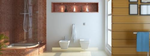 gut designtes Badezimmer fliesen braune nuancen wandregal duschkabine