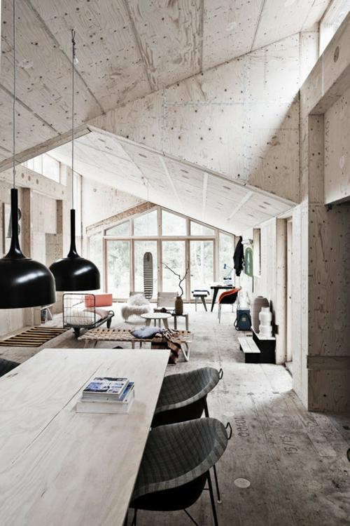 hängende lampen schwarz lampenschirm esstisch holz beton wandgestaltung